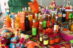 Traditional flavored rum bottles at the market in Martinique, Ca Royalty Free Stock Photo
