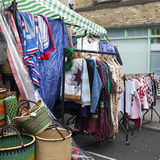 Traditional flea market at Brick Lane. Brick Lane flea market operates every Sunday. Stock Photos