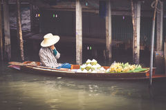 Traditional floating market in Bangkok, Thailand Royalty Free Stock Images