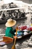 Traditional floating market in Damnoen Saduak near Bangkok. Royalty Free Stock Photos