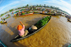Traditional Floating Market Stock Photo