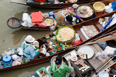 Traditional floating market, Thailand. Stock Photos