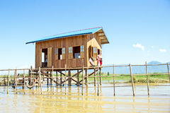 Traditional floating village house in Inle Lake, Myanmar Stock Photos