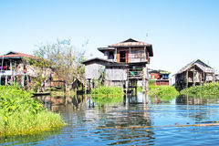 Traditional floating village houses in Inle Lake, Myanmar Royalty Free Stock Images