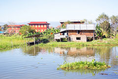 Traditional floating village houses in Inle Lake, Myanmar Royalty Free Stock Photo