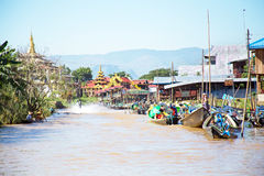 Traditional floating village houses in Shan at Inle Lake, Myanma Royalty Free Stock Photography
