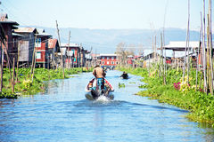 Traditional floating village houses in Shan at Inle Lake, Myanma Stock Photo