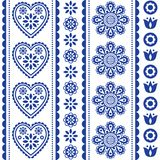 Scandinavian seamless folk art vector pattern with flowers and hearts, Nordic ornament design - long stripes. Traditional floral navy blue background, retro Royalty Free Stock Photo