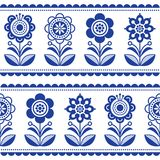 Scandinavian seamless folk art vector pattern with flowers and hearts, Nordic ornament design - long stripes. Traditional floral navy blue background, retro Royalty Free Stock Images