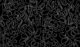 Traditional flower seamless background. Traditional flower ethnic seamless floral pattern on black background. Eastern bright style beautiful design Royalty Free Stock Image
