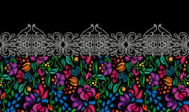 Traditional flower ethnic seamless floral pattern on black background. Eastern bright style beautiful border design Stock Images
