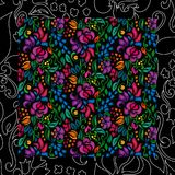 Traditional flower seamless background. Traditional flower ethnic floral pattern on black background. Eastern bright style beautiful design Stock Photo