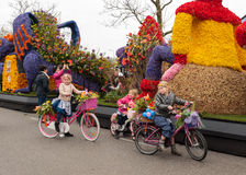 The traditional flowers parade Bloemencorso from Noordwijk to Haarlem in the Netherlands. Platform with  tulips and hyacinths follows the route of the Stock Image