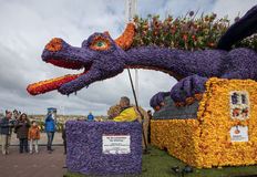 The traditional flowers parade Bloemencorso from Noordwijk to Haarlem in the Netherlands. Stock Photos