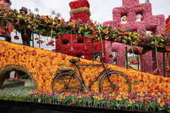 The traditional flowers parade Bloemencorso from Noordwijk to Haarlem in the Netherlands. Royalty Free Stock Image