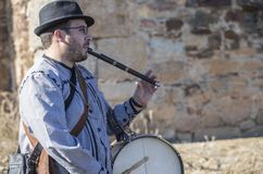 Traditional flute player and drummer from North Extremadura Royalty Free Stock Image