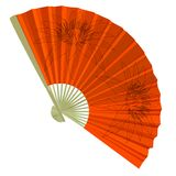 Traditional Folding Fans with a flower. Royalty Free Stock Image