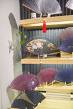 Traditional folding fans in sale Stock Image