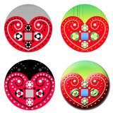 Traditional Folk Art Heart. Set of Traditional Folk Art Heart design Royalty Free Stock Photography