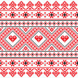 Traditional folk art knitted red embroidery pattern from Ukraine Royalty Free Stock Image