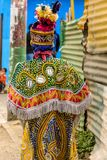 Traditional folk dancer costume, Guatemala. Parramos, Guatemala - December 29, 2016: Costume of traditional folk dancer for Dance of the Moors & Christians in royalty free stock image