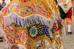 Traditional folk dancer costume, Guatemala royalty free stock image
