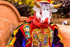 Traditional folk dancer in mask & costume, Guatemala. Parramos, Guatemala - December 28, 2016: Traditional folk dancer in mask & costume for Dance of the Moors stock photography