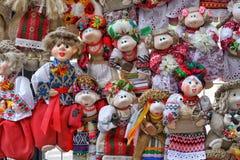 Traditional folk dolls in Ukrainian costumes. Royalty Free Stock Photography
