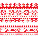 Traditional folk knitted red embroidery pattern from Ukraine Stock Photos