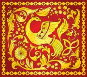 Slavic folk ornament with golden bird of happiness. Traditional folk ornament of the Russian North with golden bird of happiness on red background royalty free illustration
