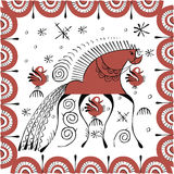Traditional folk painting with horse and hens. Traditional vector folk painting with horse and hens Stock Photography