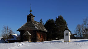 Traditional folk village architecture in winter , Slovakia Stock Photography