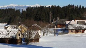 Traditional folk village architecture in winter , Slovakia Royalty Free Stock Image