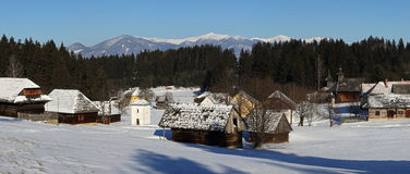 Traditional folk village architecture in winter , Slovakia Royalty Free Stock Images