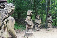 Traditional folk wood carving art sculptures in Lithuania Royalty Free Stock Photography
