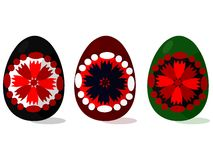Traditional folklore decorated Easter eggs Stock Photos