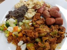 Buffet dish, with a variety of mexican style food. Traditional food for breakfast or lunch stock images