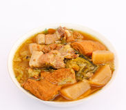 Traditional food of Chinese. Chinese vegetables stewed with pork and tofu in a bowl Stock Image