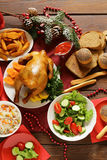 Traditional food for Christmas dinner, festive table setting Royalty Free Stock Image
