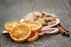 Traditional food and decorations for christmas Stock Photos