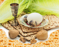 Traditional food and drink for Jewish Passover Royalty Free Stock Photo