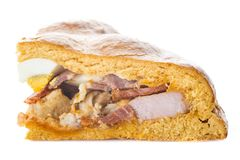 Traditional food for easter time in Spain called hornazo, a stuffed bread with pork meat and eggs stock image