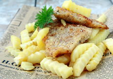 Traditional food fish and chips Royalty Free Stock Photos