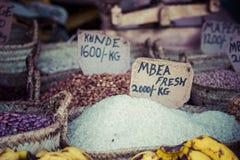 Traditional food market in Zanzibar, Africa. Stock Photos