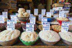 Traditional food market in Zanzibar, Africa. stock image