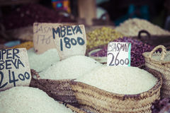 Traditional food market in Zanzibar, Africa. Stock Photo
