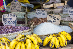 Traditional food market in Zanzibar, Africa. Royalty Free Stock Photography