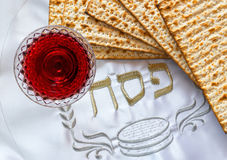 Traditional food matzah and drink red wine for Jewish Passover Holiday Royalty Free Stock Photo