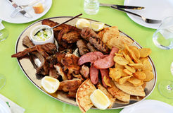 Traditional food in the restaurant on Santorini Stock Photo