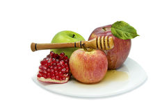 Traditional food for Rosh Hashanah, isolated on wh Royalty Free Stock Images